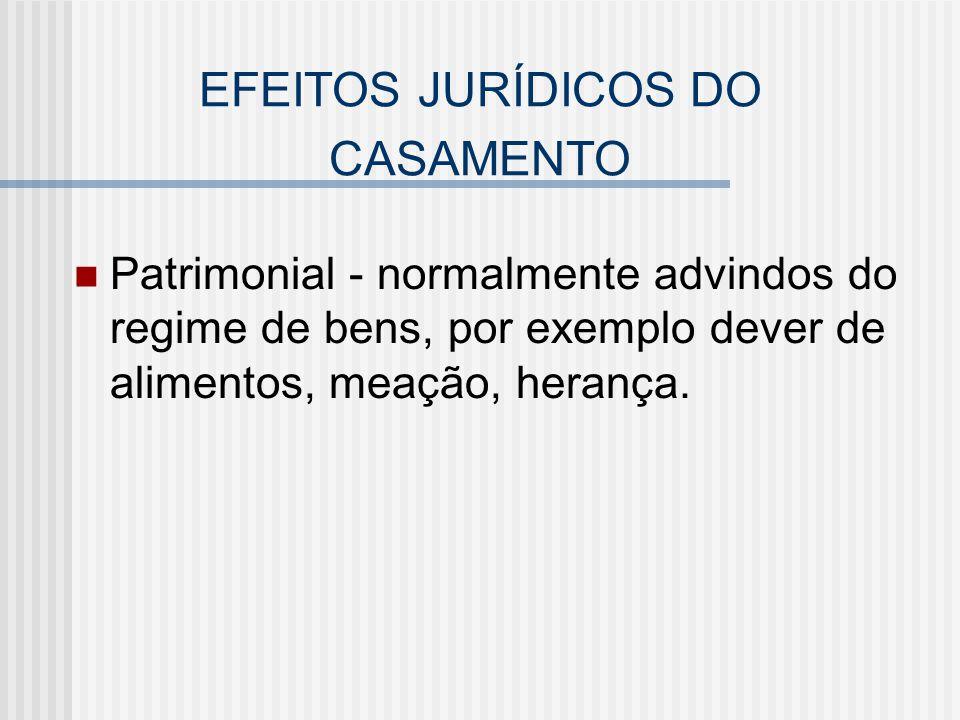 EFEITOS JURÍDICOS DO CASAMENTO