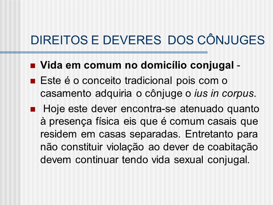 DIREITOS E DEVERES DOS CÔNJUGES