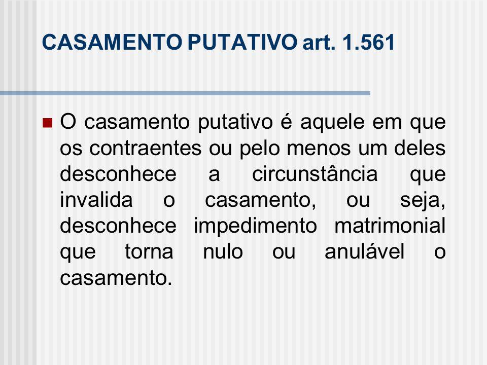 CASAMENTO PUTATIVO art. 1.561