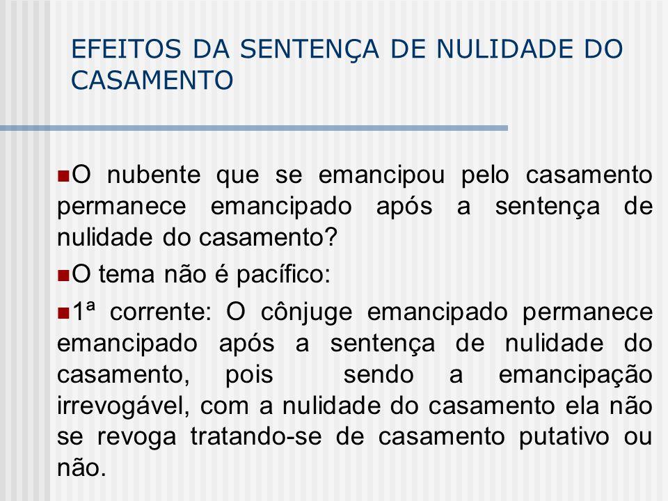 EFEITOS DA SENTENÇA DE NULIDADE DO CASAMENTO