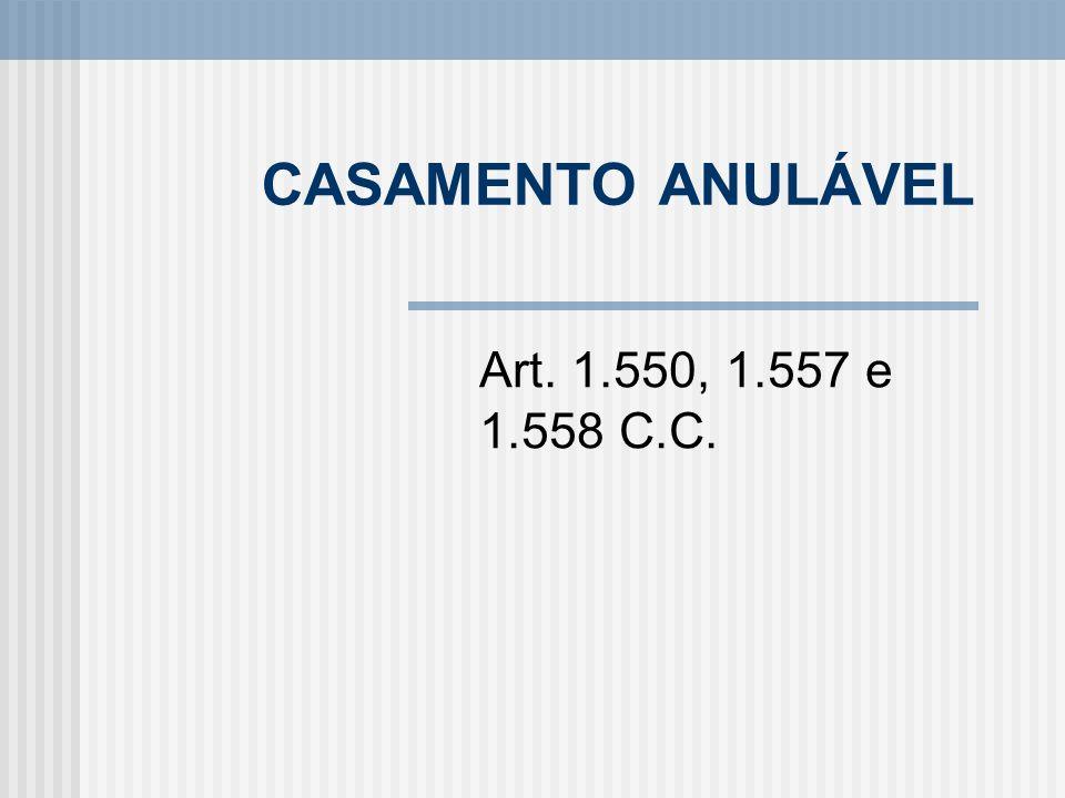 CASAMENTO ANULÁVEL Art. 1.550, 1.557 e 1.558 C.C.