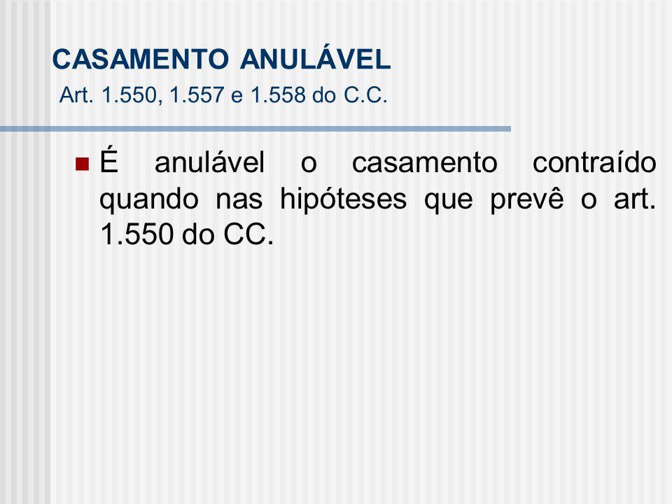 CASAMENTO ANULÁVEL Art. 1.550, 1.557 e 1.558 do C.C.