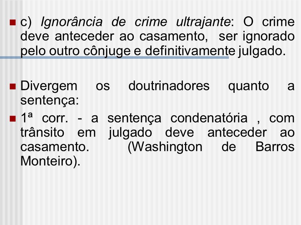 c) Ignorância de crime ultrajante: O crime deve anteceder ao casamento, ser ignorado pelo outro cônjuge e definitivamente julgado.