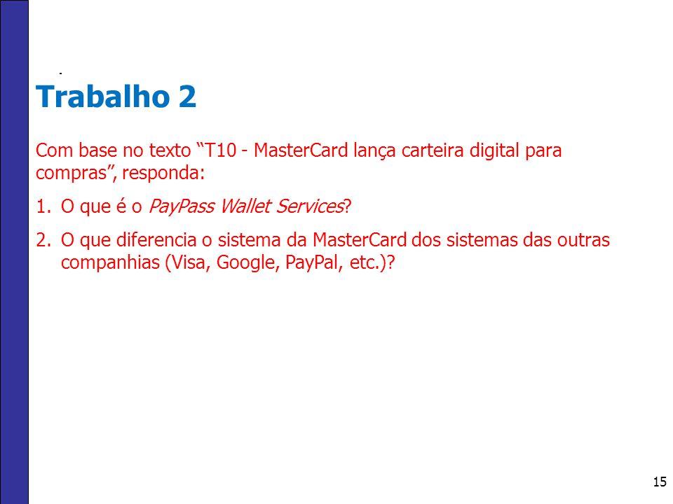 Trabalho 2 Com base no texto T10 - MasterCard lança carteira digital para compras , responda: O que é o PayPass Wallet Services