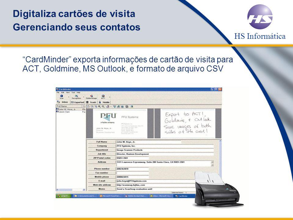 Digitaliza cartões de visita Gerenciando seus contatos