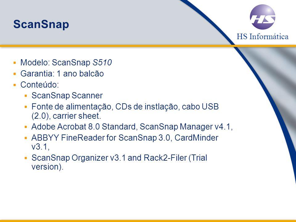 ScanSnap Modelo: ScanSnap S510 Garantia: 1 ano balcão Conteúdo: