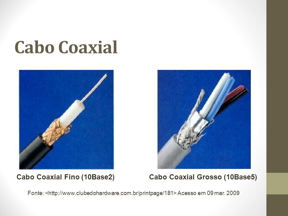 Cabo Coaxial Cabo Coaxial Fino (10Base2) Cabo Coaxial Grosso (10Base5)
