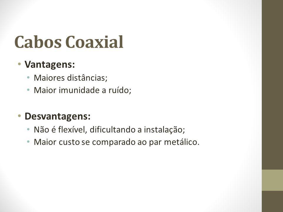 Cabos Coaxial Vantagens: Desvantagens: Maiores distâncias;