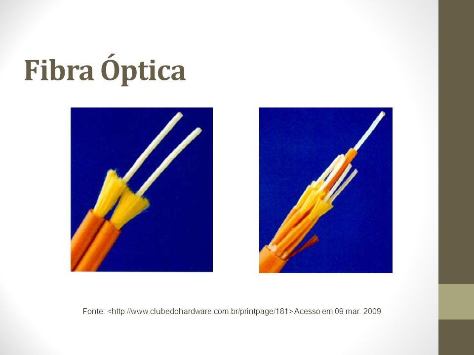 Fibra Óptica Fonte: <http://www.clubedohardware.com.br/printpage/181> Acesso em 09 mar. 2009