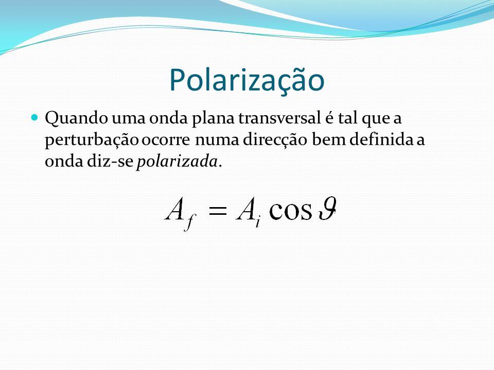 Polarização Quando uma onda plana transversal é tal que a perturbação ocorre numa direcção bem definida a onda diz-se polarizada.