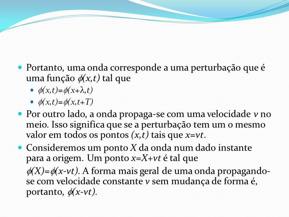 Portanto, uma onda corresponde a uma perturbação que é uma função (x,t) tal que