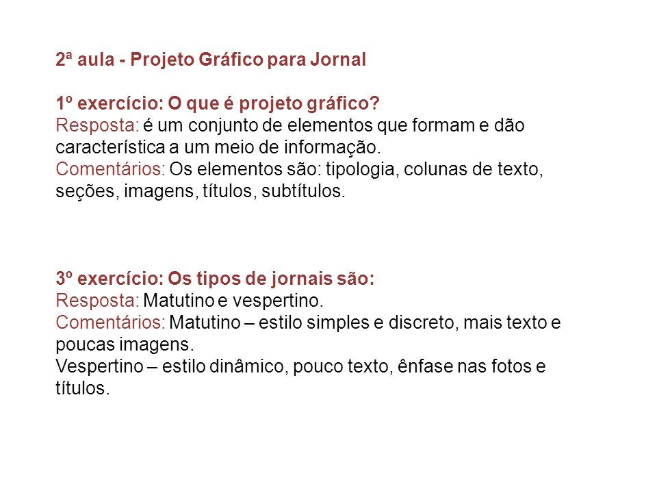 2ª aula - Projeto Gráfico para Jornal
