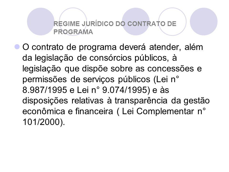 REGIME JURÍDICO DO CONTRATO DE PROGRAMA