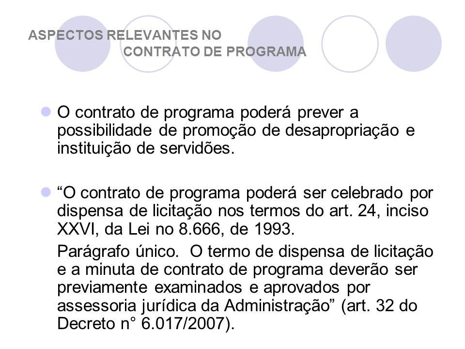 ASPECTOS RELEVANTES NO CONTRATO DE PROGRAMA