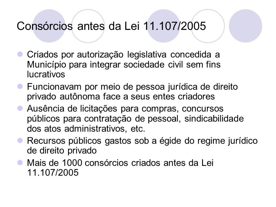 Consórcios antes da Lei 11.107/2005