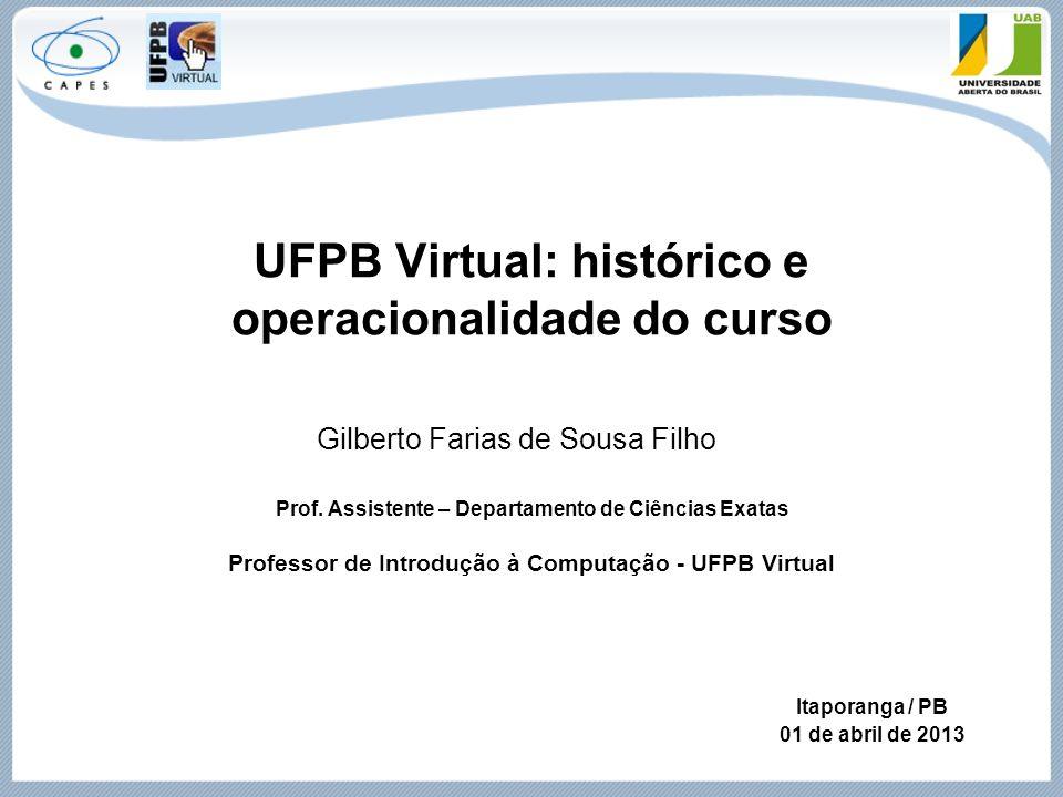 UFPB Virtual: histórico e operacionalidade do curso