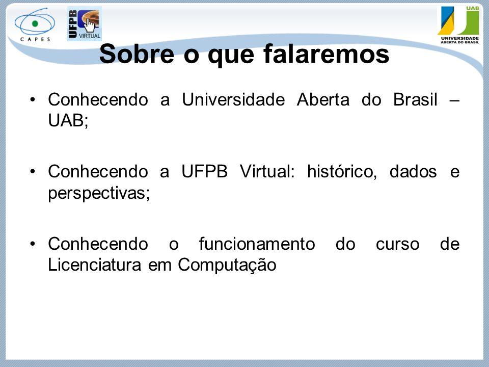 Sobre o que falaremos Conhecendo a Universidade Aberta do Brasil – UAB; Conhecendo a UFPB Virtual: histórico, dados e perspectivas;