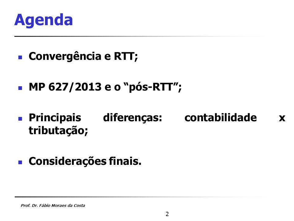 Agenda Convergência e RTT; MP 627/2013 e o pós-RTT ;