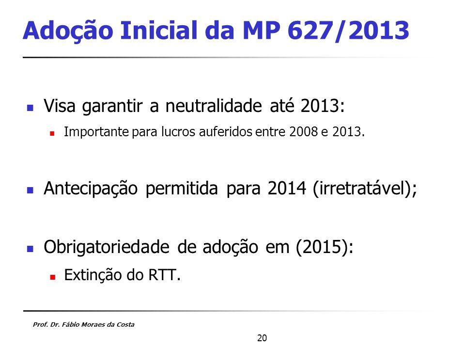Adoção Inicial da MP 627/2013 Visa garantir a neutralidade até 2013: