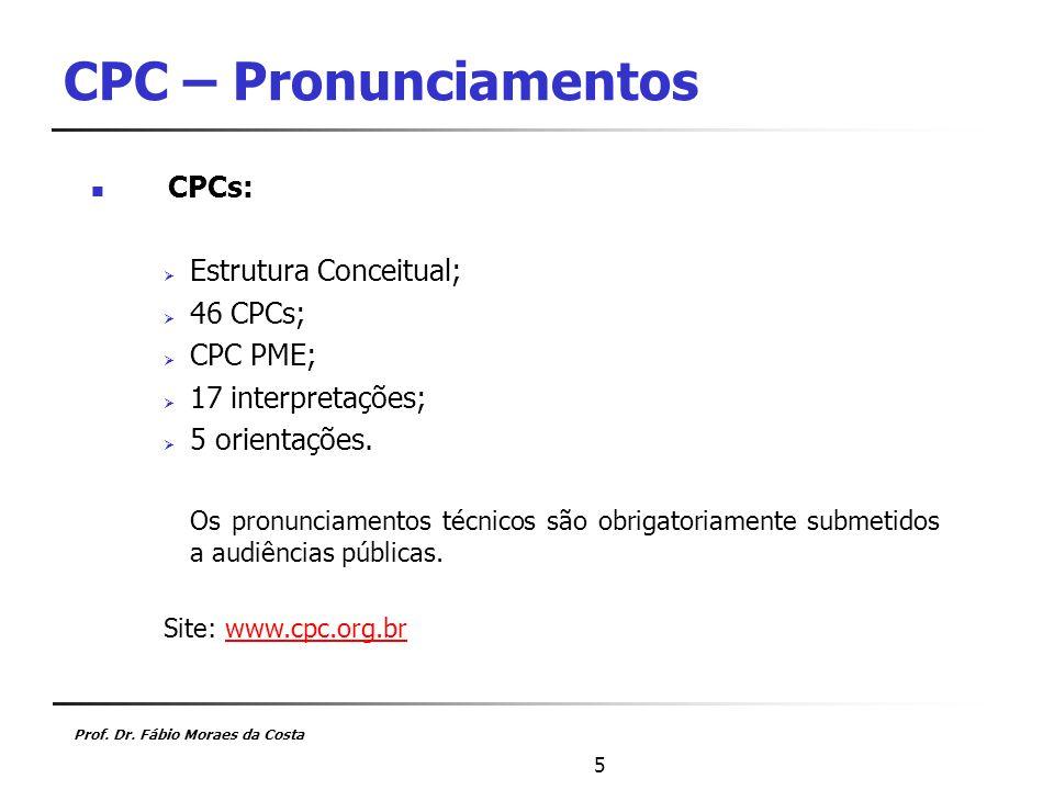 CPC – Pronunciamentos CPCs: Estrutura Conceitual; 46 CPCs; CPC PME;