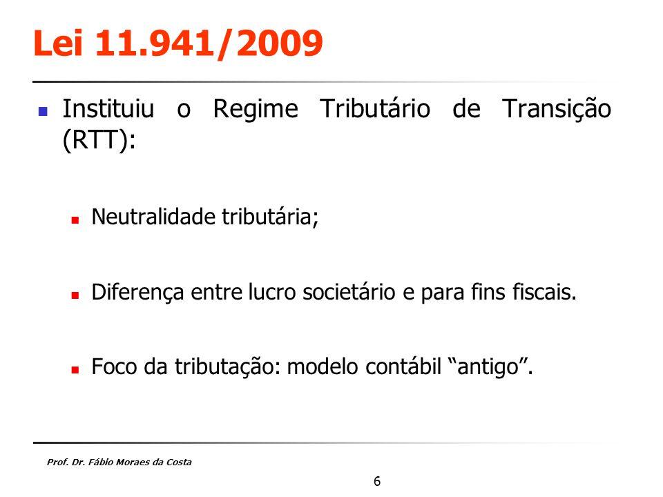 Lei 11.941/2009 Instituiu o Regime Tributário de Transição (RTT):