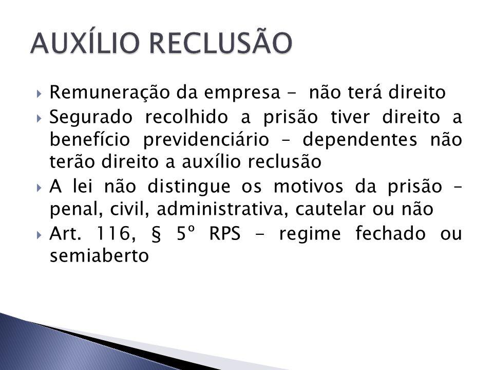 AUXÍLIO RECLUSÃO Remuneração da empresa - não terá direito
