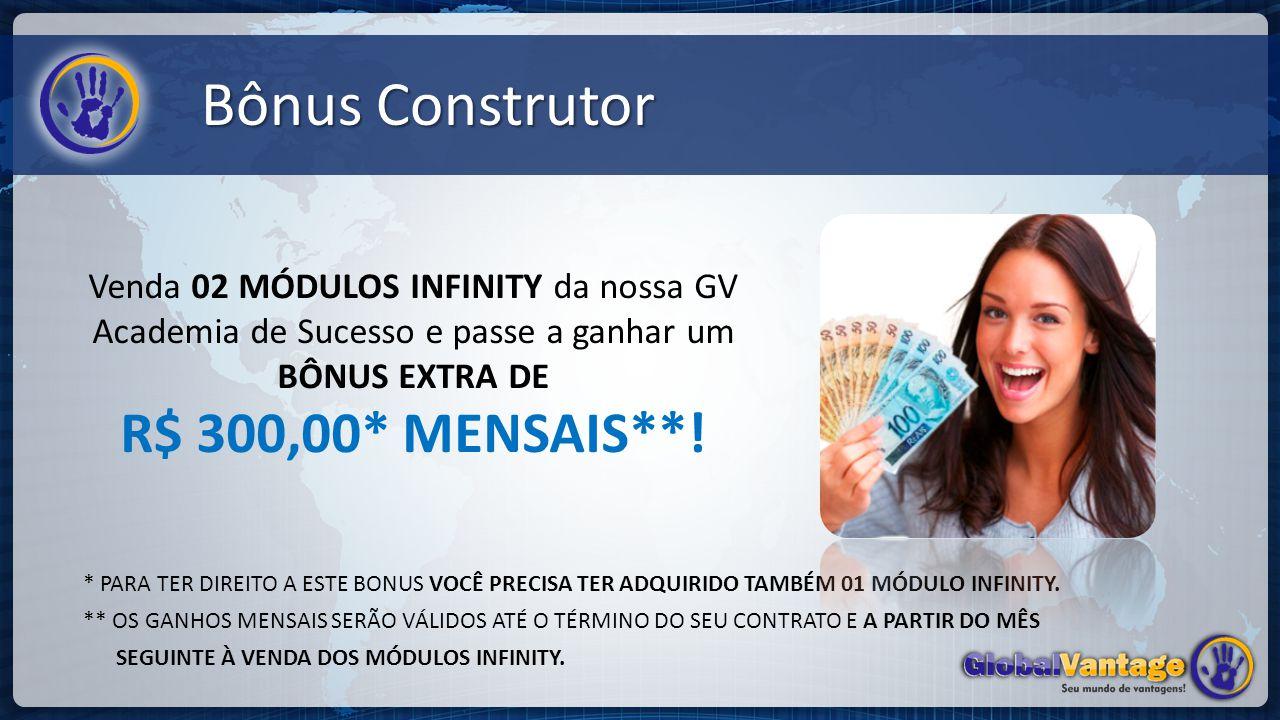 Bônus Construtor Venda 02 MÓDULOS INFINITY da nossa GV Academia de Sucesso e passe a ganhar um BÔNUS EXTRA DE R$ 300,00* MENSAIS**!