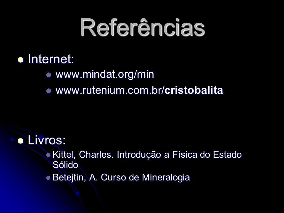 Referências Internet: Livros: www.mindat.org/min