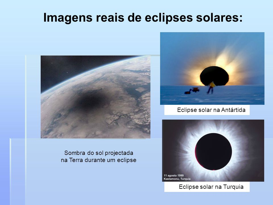 Imagens reais de eclipses solares: