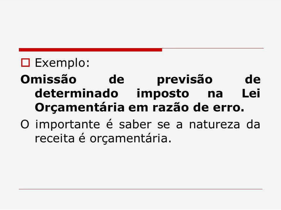Exemplo: Omissão de previsão de determinado imposto na Lei Orçamentária em razão de erro.
