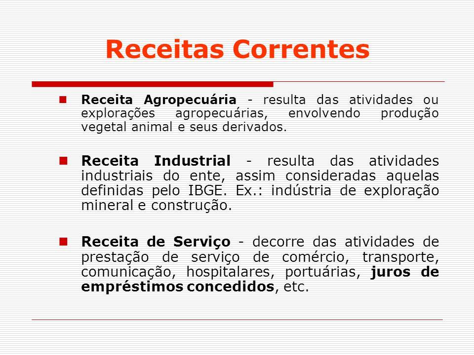 Receitas Correntes Receita Agropecuária - resulta das atividades ou explorações agropecuárias, envolvendo produção vegetal animal e seus derivados.
