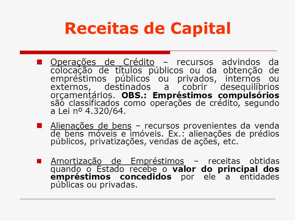 Receitas de Capital