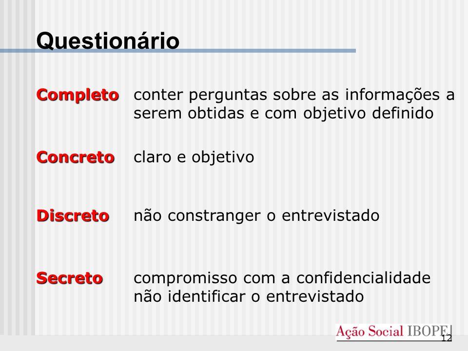 Questionário Completo conter perguntas sobre as informações a serem obtidas e com objetivo definido.