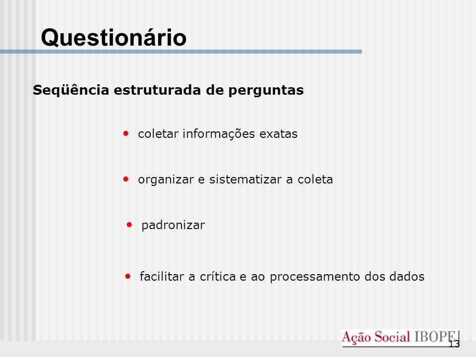 Questionário Seqüência estruturada de perguntas