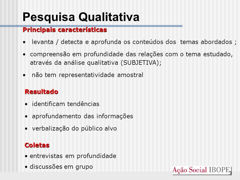 Pesquisa Qualitativa Principais características