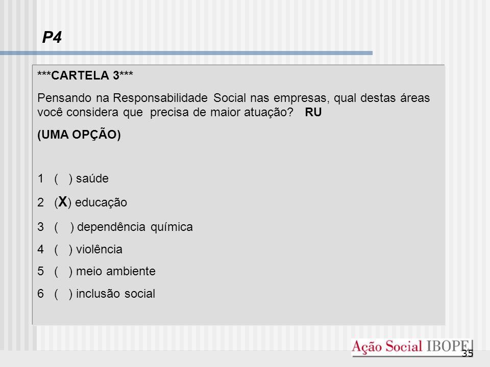 P4 ***CARTELA 3*** Pensando na Responsabilidade Social nas empresas, qual destas áreas você considera que precisa de maior atuação RU.
