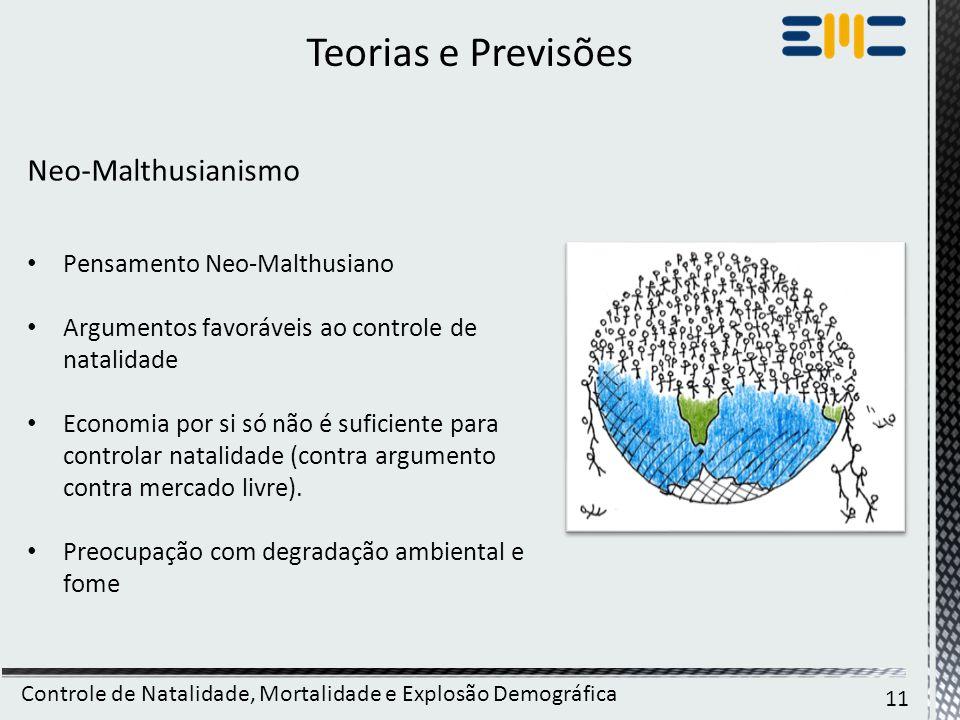 Teorias e Previsões Neo-Malthusianismo Pensamento Neo-Malthusiano