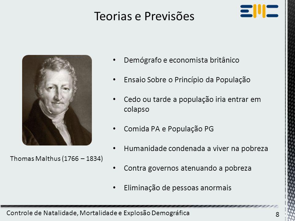 Teorias e Previsões Demógrafo e economista britânico