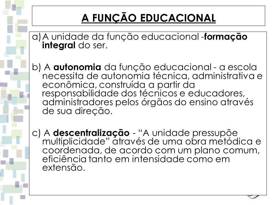 A FUNÇÃO EDUCACIONAL A unidade da função educacional -formação integral do ser.