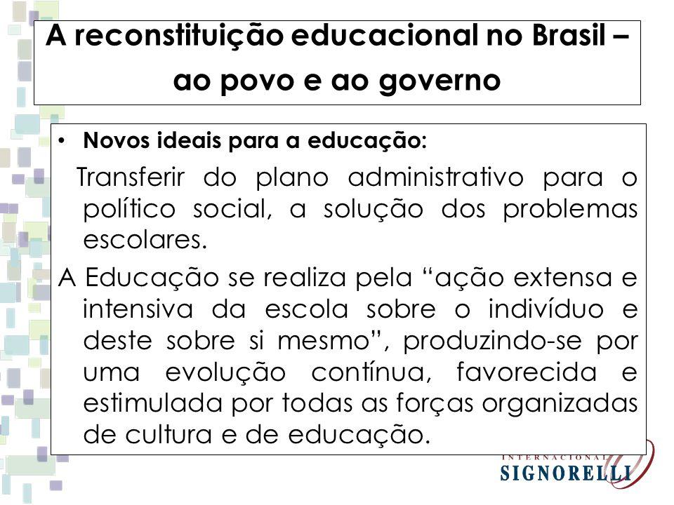 A reconstituição educacional no Brasil – ao povo e ao governo