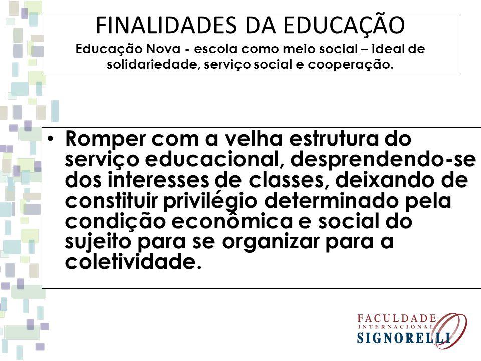 FINALIDADES DA EDUCAÇÃO Educação Nova - escola como meio social – ideal de solidariedade, serviço social e cooperação.