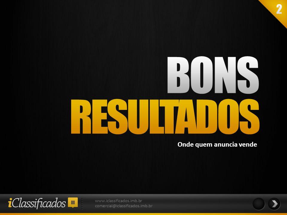 BONS RESULTADOS Onde quem anuncia vende www.iclassificados.imb.br