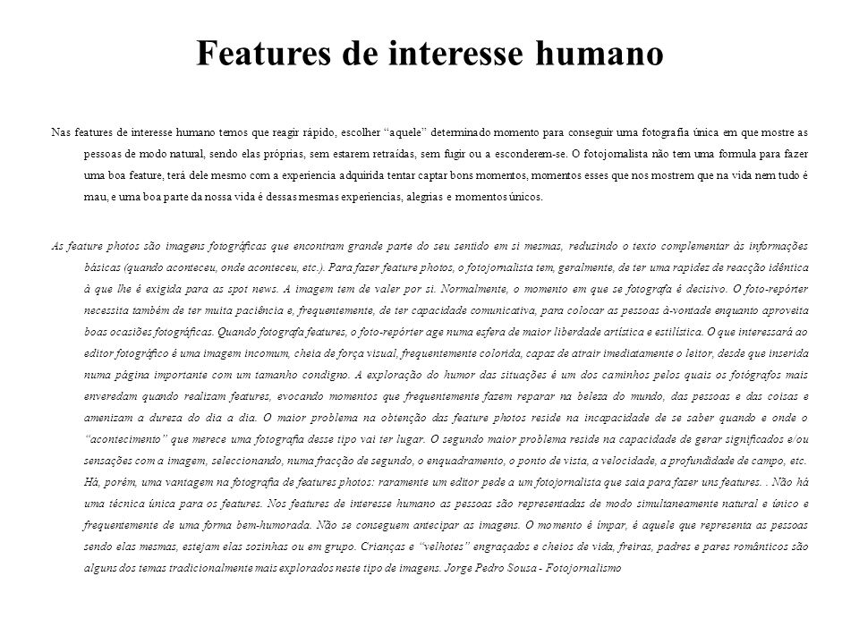 Features de interesse humano