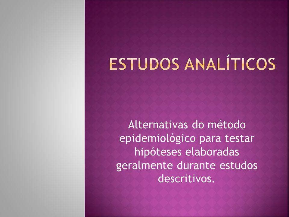 Estudos ANALÍTICOS Alternativas do método epidemiológico para testar hipóteses elaboradas geralmente durante estudos descritivos.