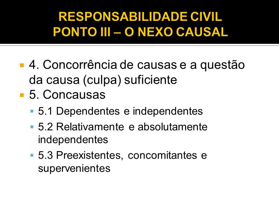 RESPONSABILIDADE CIVIL PONTO III – O NEXO CAUSAL
