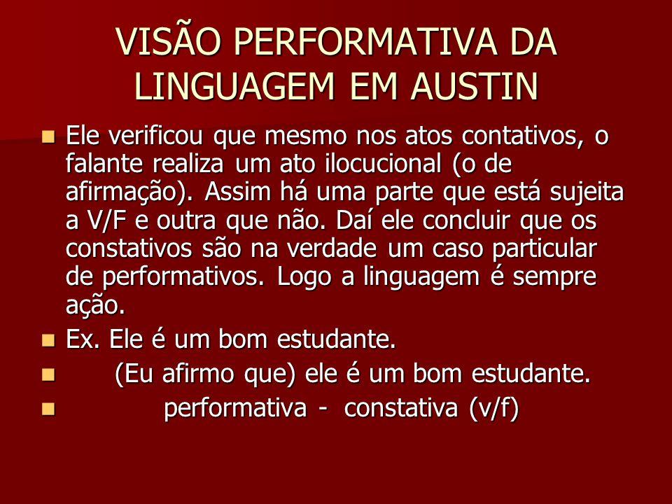 VISÃO PERFORMATIVA DA LINGUAGEM EM AUSTIN