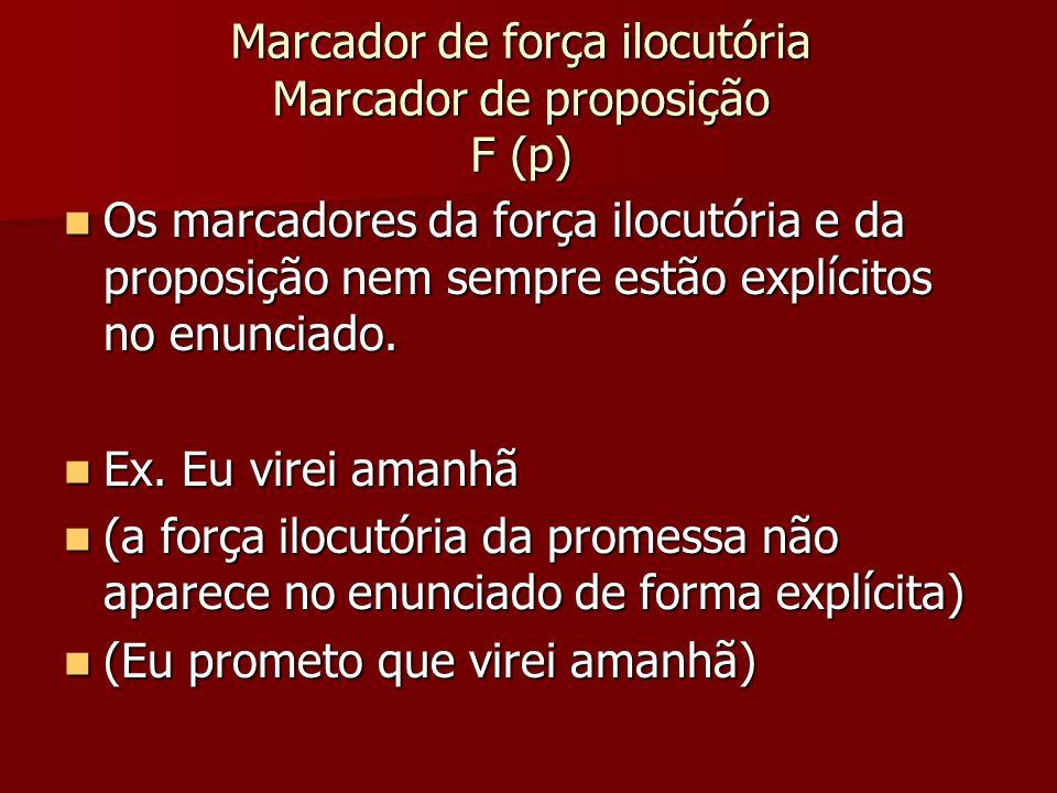 Marcador de força ilocutória Marcador de proposição F (p)