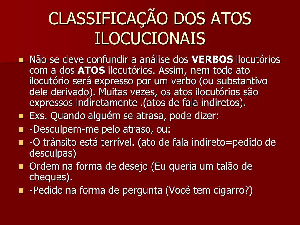CLASSIFICAÇÃO DOS ATOS ILOCUCIONAIS
