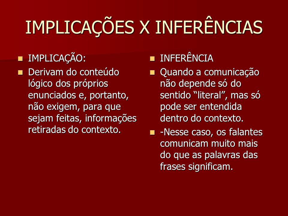 IMPLICAÇÕES X INFERÊNCIAS