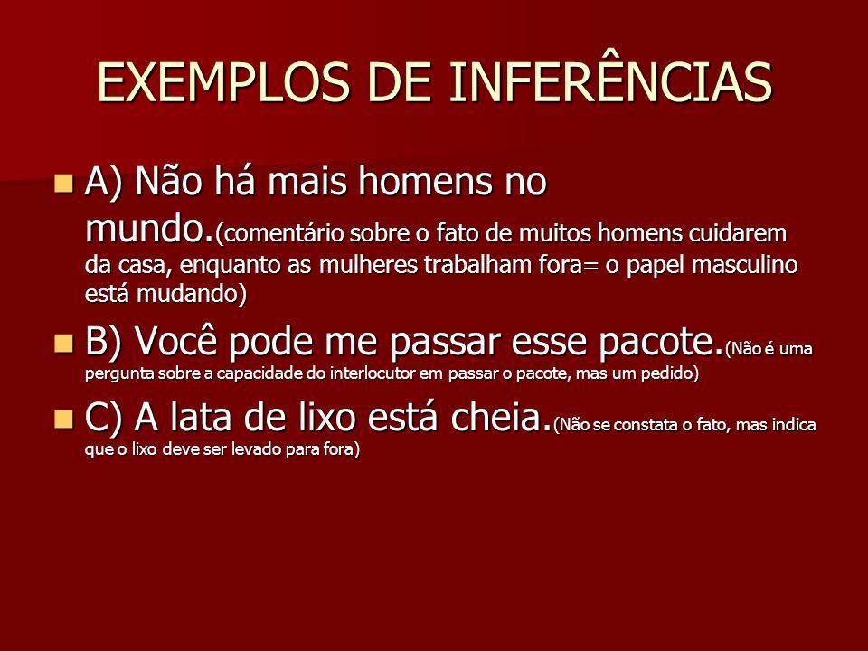 EXEMPLOS DE INFERÊNCIAS